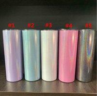 Sublimação 20oz glitter tumblers aço inoxidável aço inoxidável tumbler arco-íris de arco-íris de vácuo isolado cerveja canecas com o transporte marinho de palha w45