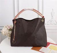 براون زهرة جلد طبيعي M40249 Artsy MM حجم المرأة حقائب اليد المحافظ حقيبة التسوق حمل مخلب حقائب الكتف البني مدقق