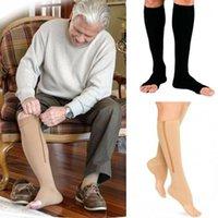 Мужские носки фитнес-молнии сжатие на молнии сжатие ZIP циркуляционный давление нога поддержка колена SOX открытый носок спортивный носок уменьшить боль SOCK1
