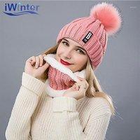 Beanies Iwinter Kış kadın şapka Eşarp Seti Kadınlar Kızlar Için Kalınlaşma Ponponlar Sıcak Yüzük Şapka1