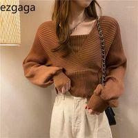 Ezgaga Pull Cropped Femmes Mode Fake Deux V-Col Vert Pull Pull Stretch Vintage Knit Tops Solid Mesdames Jumper1