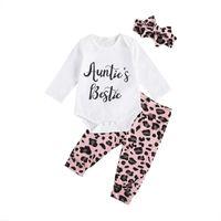Pudcoco 2020 Herbst 0-18m Kleinkind Babymädchen 3 stücke Set Tante Bestie Brief Drucken Langarm Body + Leopard Pants + Stirnband