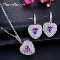 ThreeGraces Lovely Heart Shaped Clear Zirconia Micro Pave Purple Crystal Fashion Nacklace Earrings Jewelry Set for Women JS205