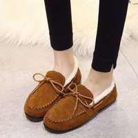 EOEODOIT Autumn Winter Moccasin Gommino Shoes Flat Heel Roun...