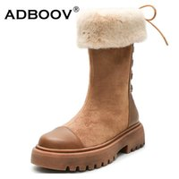 ADBOOV Mid-Calf Snow Boots Women Back Lace-Up Winter Boots Women Bottines Pour Les Femmes Fur Lining Flat Winter Shoes