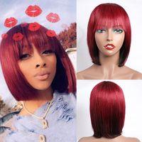 Modernshow Pixie tagliato bob parrucca peruviana remy dritto corto capelli umani parrucche per le donne ombre rosso blu biondo colore capelli umani capelli botti parrucca