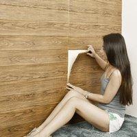 Adesivi murali stereo 3D Stile retrò in legno di grano in legno impermeabile impermeabile impermeabile muffa fottuta carta da parati decorativa soffitto legno grano1