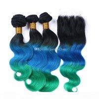 Chiusura del pizzo di 3 toni con i pacchi dei capelli # 1b blu verde Ombre capelli umani con chiusura del pizzo 4 pezzi lotto