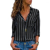 Полосатая блузка Новые женские Топы и блузки Весна 2019 Рукава с карманными Женщинами Blusas Mujer Office Рабочая Рубашка Плюс Размер1