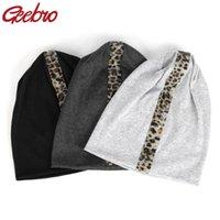 Casual Leopard Strass Elasticizzato Berretti Unisex Cotone di Geebro nuova delle donne per le ragazze Uomo Primavera Bonet Cappello Skullies Caps DT908