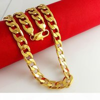 Curb Chain Link Solid 24k 24ct Yellow Gold Filled Mens Neckl...