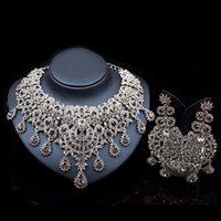 Retro Afrikanskt uttalande Smycken Satser Silver Färg Halsband Örhängen Set för Kvinnor Bridal Bröllopsfest Gift Prom Tillbehör