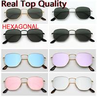 Óculos de sol do desenhador Óculos de sol hexagonais Qualidade superior para tons fêmeas masculinas óculos de sol com estojo de couro, e todos os acessórios de varejo!