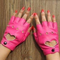 1 زوج قفازات جلدية luvas guantes موهير للنساء الفتيات الأحمر balck الأبيض المحبة القلب قفازات 1