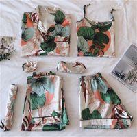 حزام منامة النوم منامة المرأة 7 أجزاء منامة الوردي مجموعات الحرير الحرير الملابس الداخلية ملابس النوم ملابس النوم بيجامات للمرأة 201217