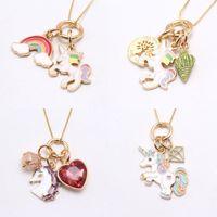 Multi Design Kids Unicorn Ювелирные Изделия Ожерелье Unicorn Rainbow Подвеска Мода Аксессуары Ожерелье Дети Девушка Ювелирные Изделия Рождественский Подарок 500 К2