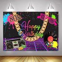 80 Happy Birthday Backdrop Photo Shoot Radio Rock Music Party Sfondo Decorazione 90's Graffiti Painting Photography Props1