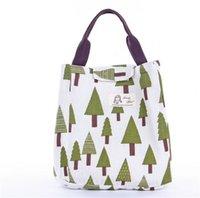 만화 점심 열 절연 가방 고슴도치 고래 나무 패턴 휴대용 캔버스 가방 야외 피크닉 기사 뜨거운 판매 5 2 분기 J2