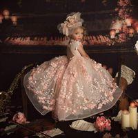 Rubor rosa 2021 de la princesa muchachas de flor de los vestidos de boda vestido de bola cuello de la joya 3D floral vestido del desfile de los niños del niño de comunión Vestidos