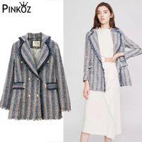 Pinkoz Herbst Hohe Qualität Retro Blau Gestreifte Quaste Tweed Anzug Jacke Frauen Neue Mode Langarm Langarm Revers Eleganter Mantel Outwear1