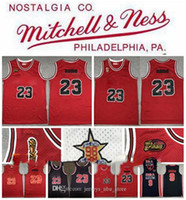 Michael Retro 23 Jersey 23 Michael JD Mitchell NESS 85 خمر فينيس كرة السلة الفانيلة الكلاسيكية بالأبيض والأسود S-2XL