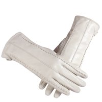 WhiteLeather Women' s Gloves, Genuine Leather, Cotton Li...
