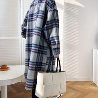 FORYUNSHES Women Winter Woolen Coats 2020 Female Plaid Print Retro Warm Thick Long Jacket Outercoats Korean Style Outwear