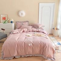 60 Satin langstapelige Baumwolle hohe Präzision Patch Stickerei Bettwäsche Bettlaken Importierte vier Stücke Satz blau rosa Schmetterling Bild Bettwäsche