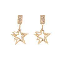 925 silberne nadel europäische und amerikanische mode übertrieben fünfzackige stern diamant ohrringe temperament strass lange ohrringe frauen