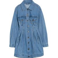 Günlük Elbiseler Belki U Kot Elbise Kadınlar Ile Düğme Cep Seksi Mini Kot Uzun Kollu Zarif Katı Renk Yüksek Bel D3001