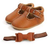 첫 번째 워커 아기 소녀 신발 활 머리띠 2pcs 세트 유아 공주 유아 Moccasins 소프트 워킹 신발 0-1T B4112