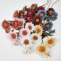 """Fiori decorativi Corone 10pcs Falso Girasole (3 teste / pezzo) 22 """"Lunghezza Simulazione Autumn Sun per il fiore artificiale domestico di nozze"""