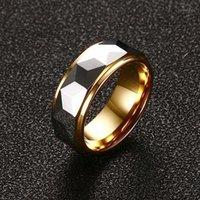 ZORCVENS 100% Tungsteno in carburo multi-sfaccettato anello di prisma multi-sfaccettato per uomo banda di nozze 8mm cool uomini punk vintage anello gioielli moda1