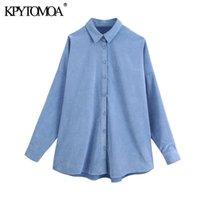 KPytomoa mulheres 2021 moda enorme corduroy asmétricas blusas vintage manga longa botão-up solto camisas femininas chique tops