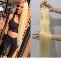 613 Sarışın 36 38 40 inç Brezilyalı Saç Örgü Demetleri Düz 100% İnsan Saç 3 4 Demetleri Doğal Renk Remy Saç Uzantıları
