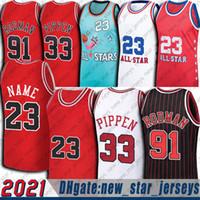 Chicagos 23 MJ Jersey Scottie 33 Pippen Dennis 91 Rodman Formalar Gerileme Vintage Basketbol Forması 1994 Kırmızı Üniforma