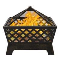 WACO 26 дюймов на открытом воздухе металлическая плита пожарная яма, сад, садовые принадлежности, стальная жаровня, задворк патио Capming Древесина горящий камин - бронза