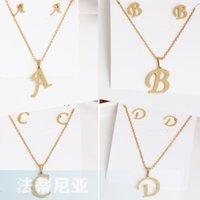 26 Lettera Collane con l'orecchino set in acciaio inox Oro Girocollo iniziale pendente delle donne di alfabeto collana monili delle catene