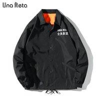 UNA Reta Ceketler Erkekler Yeni Hip Hop Işlemeli Metin Ceket Palto Moda Rahat Tek göğüslü Antrenörler Ceket Streetwear 201111