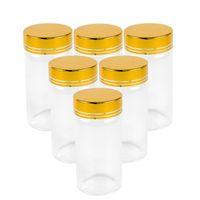 6pcs 50ml 80ml 100ml 150ml Glasflaschen mit Gold Silber Schraubdeckel Food Grade Qualitäts-Gläser Lagerung Geschenk Crafts