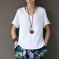 Johnature verão de algodão branco camisas de manga curta com decote em V bolso Feminino Soft Top T-shirt Y200930