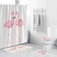 Cortina de ducha de flamenco Impresión animal Pink Baño Accesorios Cubierta de inodoro Conjunto de 4 piezas con blanqueador reforzado T200711
