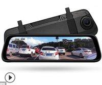 سيارة DVR DVRS 10 بوصة شاشة تعمل باللمس الكامل دفق الوسائط الرؤية الخلفية مرآة القيادة مسجل 1296P HD للرؤية الليلية عدسة مزدوجة عكس صورة 1