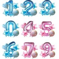 5pcs / kit rose bleu fille garçon ballon ballon ballon douche fille 0 1 2 3 4 5 6 7 8 9 Nombre de ballon Ballon Enfants Décor fête d'anniversaire