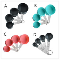 8 pcs definir colheres de medição Ferramentas de copo PP Cozimento Acessórios de aço inoxidável punho de plástico Gadgets