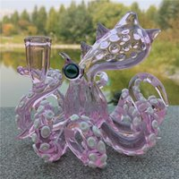 Розовый Осьминог Rigs С 14.4mm Женский Joint стекла ручной воды Bongs Барботеры Receyler Водопроводные трубы