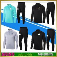 20 21 Adulte Enfants Algérie Survêtement de football Maillot de Football Skillsuits Set de football à manches longues 2020 2021 Kit d'uniformes d'entraînement