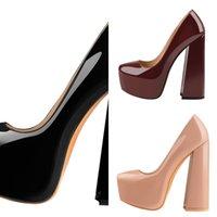 OnlyMaker Womens Runde Zehenplattform 15cm ~ 16 cm Chunky High Heels Knöchelband Kleid Huf Dicke Fersen Schuhe Große Größe J1215