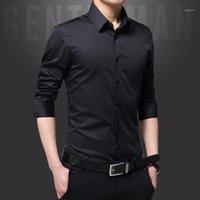 Herrenkleid Hemden Männer Lässige Mode Solide Farbe Hemd Langarm Slim Fit Formale Business Herren Kleidung Männlich Smoking Hemd1