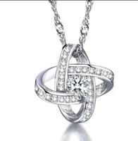 Silber Artikel Aussage Halsketten Swiss Crystal Anhänger Swarovski-Elemente Ernte Knoten Charms Ethnische Vintage PS0647
